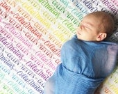 CUSTOM NAME Swaddle - Rainbow blanket - Organic cotton knit - Birth announcement - personalized swaddle