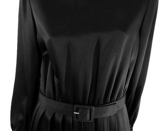 Designer Romantica By Victor Costa Black Satin Cocktail Dress