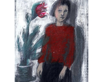 Woman drawing portrait Red Flower illustration original girl figurative people