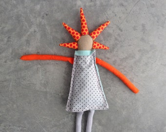 Stocking stuffer Cloth Rag Doll with cool  haircut ,Dressed in shades of Blue mint orange. eco Soft Sculpture toy unique doll,Handmade Gifts