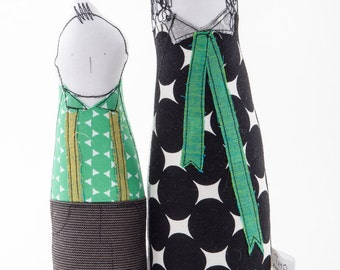 Family portrait dolls - Soft sculptur art dolls - Mother and son dressed in black white green geometric handmade eco dolls, collectible gift