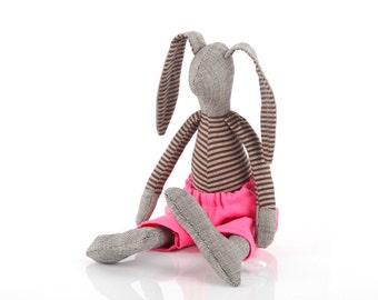 Dark gray stuffed bunny doll toy , cuddling rabbit doll ,in dark striped shirt  & neon hot pink pants -eco timohandmade doll for boy or girl