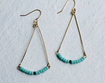 Turquoise Boho Earrings ... Vintage Glass Industrial Geometric