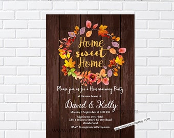 Rustic Fall housewarming party invitation, New house, home sweet home, housewarming - card 1032