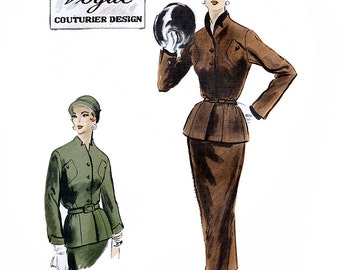 Vogue Couturier Design 761 Vintage 1950s Sewing Pattern for Misses' Suit - Unused - Size 14 - Bust 32