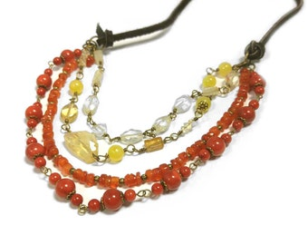 Sunset Gemstone Necklace in Red Coral, Orange Carnelian & Yellow Citrine Four Strands, Round, Faceted and Free Form Gems on Brown Suede 1020