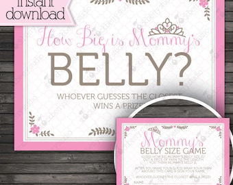 Princess Baby Shower Guess How Big Is Mommy's Belly Game Printable - Instant Download - Pink Baby Shower Game - Princess Baby Shower Games