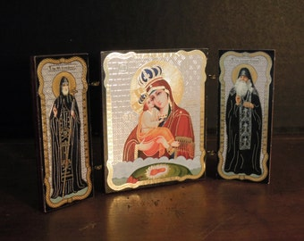 Vintage Mini Russian Triptych / Religious Icon / Madonna and Child / Saints / Wood Triptych