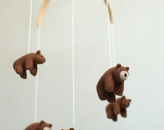 nursery mobile, baby mobile,  bear mobile,  made to order
