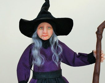 Anastasia the Witch, hand sculpted miniature dollhouse doll in 1/12th, one inch scale, ooak