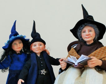 The Storyteller, witches and wizard, hand sculpted miniature dollhouse dolls in 1/12th, one inch scale, ooak