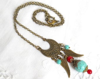gypsy necklace bohemian necklace boho necklace turquoise and red necklace gemstone necklace turquoise necklace bohemian jewelry