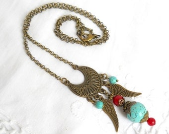 SALE gypsy necklace bohemian necklace boho necklace turquoise and red necklace gemstone necklace turquoise necklace bohemian jewelry