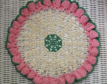 Vintage Hand Crochet Pink Green Creamy White Lace Doily