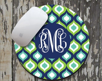 TEAL OGEE Personalized Mouse Pad, Personalized Mousepad, Monogrammed Mouse Pad, Monogrammed Mousepad, Custom Mouse Pad, Custom Mousepad