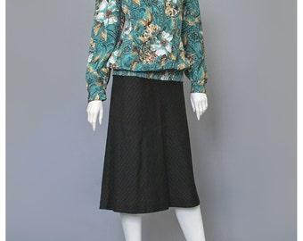 SALE - Paisley Blouse 80s Blouse Floral Print Secretary Blouse Puff Sleeve High Collar Blouse Teal Floral Blouse 1980s Blouse M/L