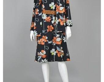 Vintage Black Floral Dress & Jacket 60s Dress Mod Dress 60s Shift Dress Set Outfit Grey and Brown Floral Print Tent Dress 1960s Dress (L/XL)