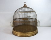 Antique Hendryx Brass Bird Cage with Glass Feeders