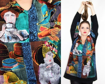 Sweater Top Vintage 80s 90's Tea Party MULTICOLOR Graphic Sweater // Vintage Clothes by TatiTatiStyle on Etsy