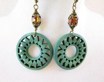 Teal Wooden Sun & Amber Crystal Long Bronze Bohemian Earrings
