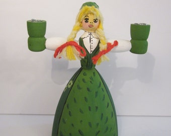 Swedish Wooden Candle Holder - Pretty Girl with Braids Wearing Hand Painted Green Dress and Hat
