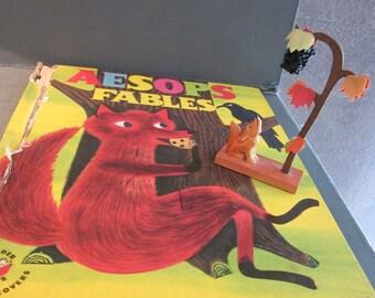 Erzgebirge Fox and Grapes Wooden Carving - Plus 1958 Aesop's Fables Wonder Book - German Miniature Figure - Mid Century Illustrations