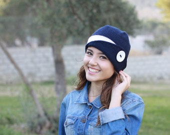 Womens knit hat, Lucy Hat, Womens beanie, Navy blue Winter beanie women, Knit beanie hat, Winter hat, Womens hat,