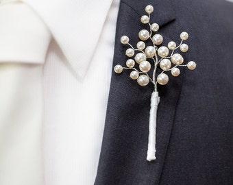 Wedding Boutonniere - Darius Boutonniere in Cream/Ivory Pearl - Grooms Boutonniere - Pearl Boutonniere - Groomsman Boutonniere