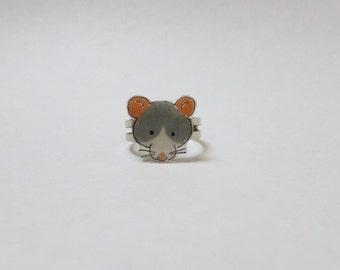 Fancy Rat Roan Husky Grey Blue Rat Ring Pet Rat Jewellery