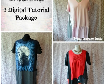 Tutorial Three Pack Ballyhoo Dress Calliope Tunic Trapeze Tunic DIGITAL TUTORIAL ONLY Womens Plus Tshirt Refashion Clothing