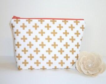 Metallic Gold Crosses Cosmetic / Make-Up Bag. Zip Pouch, Gadget / Pencil / Phone Case - Coral, Chevron, White, Mint