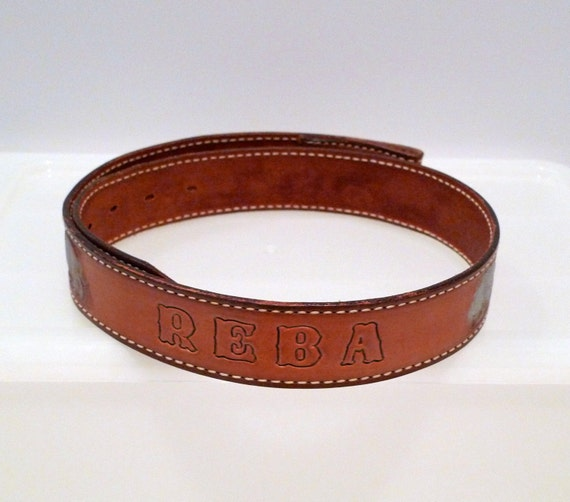armadillo tooled leather belt vintage personalized reba waist