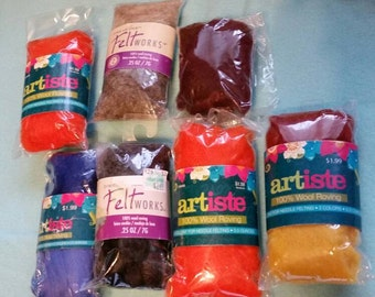 Destash Packages of Wool Roving for Felting or Spinning