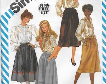 Simplicity 6370 Women's 80s Set of Skirts Sewing Pattern Waist 32, Size 18