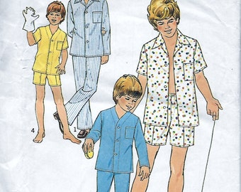 Simplicity 6427 Boy's 70s Pajama Sewing Pattern Size 6, 8 Chest 25, 27