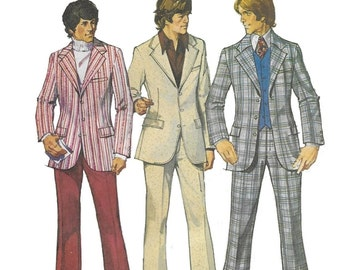 Simplicity 5457 Men's 70s Jacket Pants and Suit Sewing Pattern Chest 38