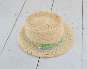 1960s Beige Straw Hat with Pink, Green, and Blue Band