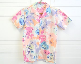 1980s Kid's Tropical Print Shirt