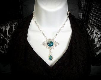 Victorian Necklace, Handmade Glass Opal Iridescent Teal, Filigree Art Nouveau Pendant, Renaissance Necklace, Color-Shift