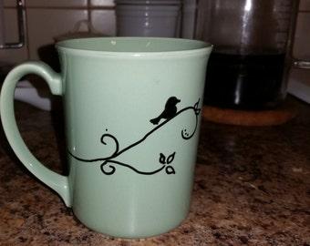Bird Silhouette Handpainted Coffee Cup Mug Handmade Sage Green Corning bird silhouette scrolls vine handwriting