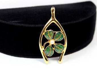Lucky Wishbone and Four Leaf Clover Brooch Signed JJI - Cute!