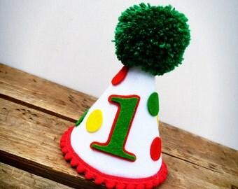First Birthday Hat, Hungry Caterpillar Birthday Hat, Hungry Caterpillar Hat, Felt Birthday Hat, Birthday Hat: Hungry Caterpillar