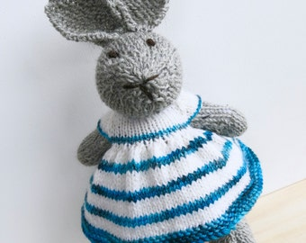 Bunny Rabbit Toy named Charlotte Hand Knitted with Teal Green Striped Party Dress