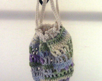 SALE, Drawstring Bag, Purse, Gift Bag, Crocheted Bag, Drawstring Pouch