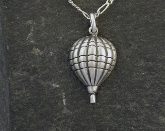 Sterling Silver Hot Air Balloon Pendant on Sterling Silver Chain.