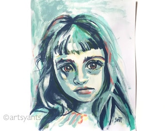 abstract portrait of girl with bangs - contemporary wall art decor - original artwork on paper - 11x14