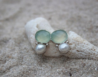 Chalcedony and Pearl Sterling Silver Stud Earrings
