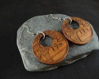 Round Wooden Dangle Earrings -  Tree Branch Engraved in Canary Wood - natural eco friendly jewelry