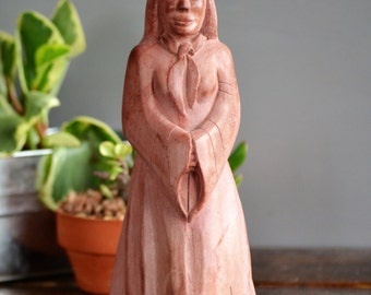 Carved & Etched Minnesota Pipestone Figure /Vintage Catlinite Red Woman Figurine Heavy Collectible