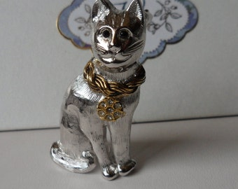 Cat Pin Signed Danecraft! Silver Plated! Black Multifaceted Eyes & A Gold Plated Necklace With 7 Swarovski Crystals! Free Shipping! On Sale!